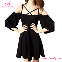 Cheap Black Sexy Strappy Halter Shouldless Summer Dress