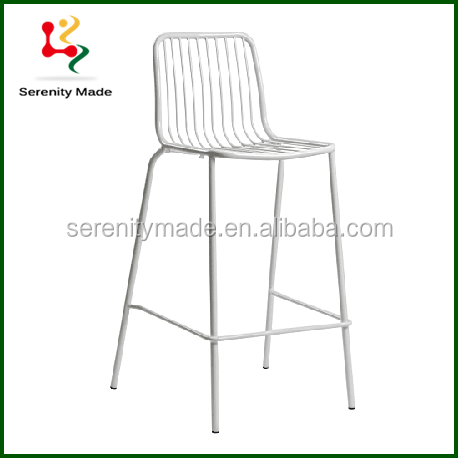 White Lacquer Metal Kitchen Bar Chairs Industrial Metal Cafe Chair Outdoor