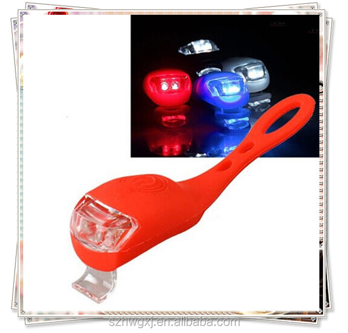 Mini bright front rear led silicone bike light