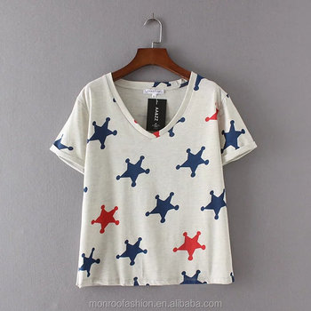 monroo 2017 New Fashion Elegant V Neck Stars Print T-Shirt Women Slim Loose Short Sleeve T-shirt Pullover Clothing T002