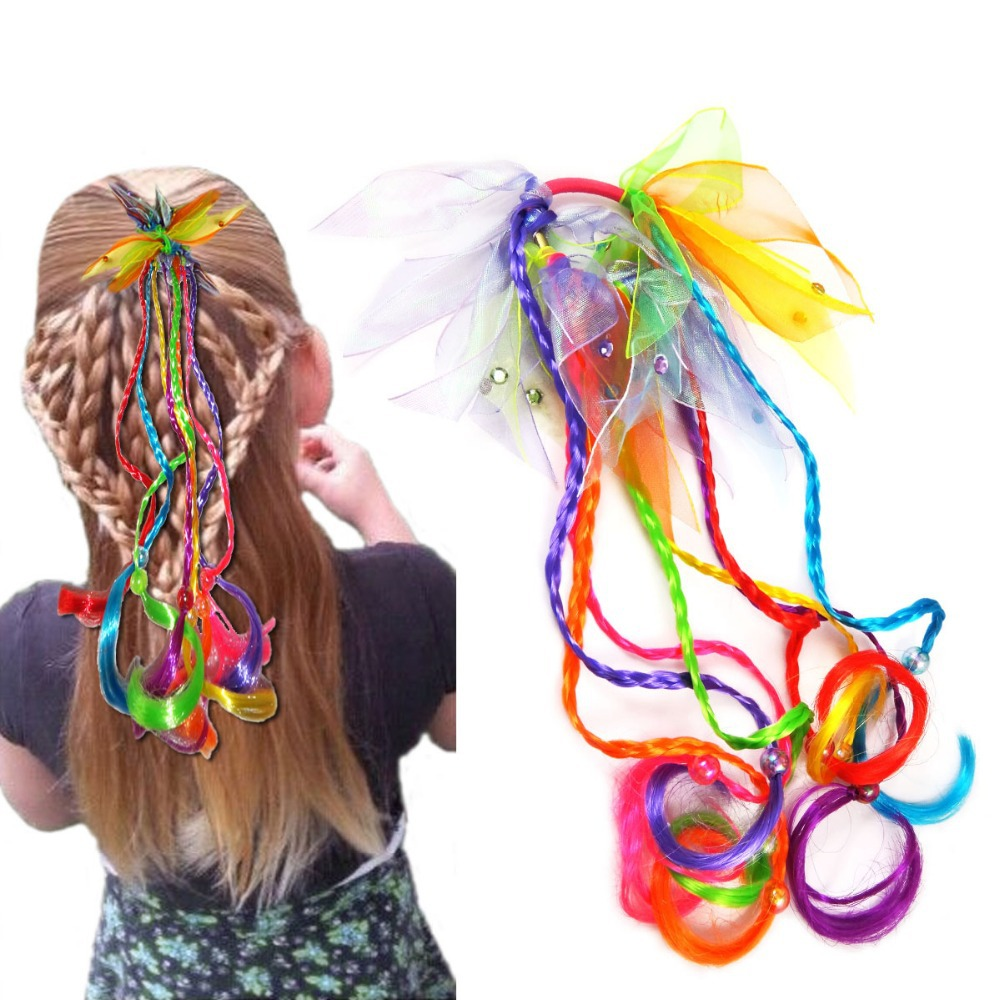 BSCI Audit Manufactory Wholesale Cheap Braid Kids Pony Holder Elastic Band/Children's Fake Hair/Baby Kids Hair Extensions