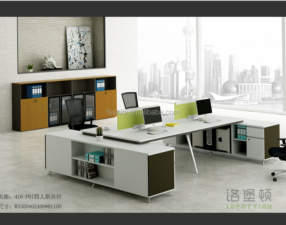 Modern Office Furniture L shape office desk 2 seat office workstation
