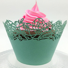 50Pcs/set Green Cake Cupcake Paper Wrapper Carved Design for Wedding Birthday Party Decor