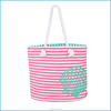 Hot selling fashion stripe canvas bag, beach tote bag for travel