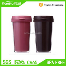 2015 new double wall plastic starbucks coffee <strong>cup</strong> with lid RH123-14