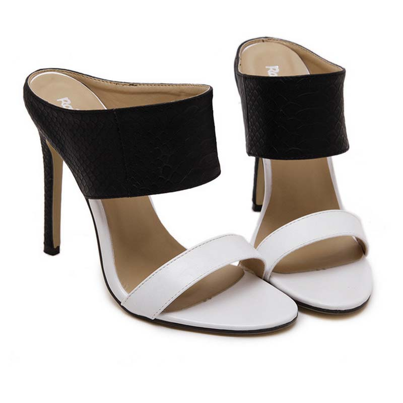 SAA3626 Stylish black white splicing stiletto heel women slipper sandals