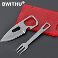 Mini Emergency Survival Stainless Steel knife fork multi functional card tool
