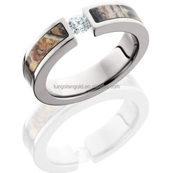 stainless steel engagement cz ring, women fancy rings camo inlay