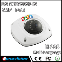 2017 New dome camera DS-2CD2532F-I S W, audio,Wifi,3MP Mini dome IP camera,Up to 10m IR Network camera,DS-2CD2532F-IWS