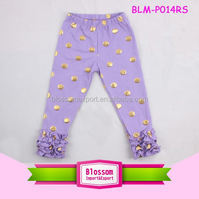 2017 Baby Girl Ruffle Pants Cotton Wholesale Kids Girls Double Ruffle Capri Pants