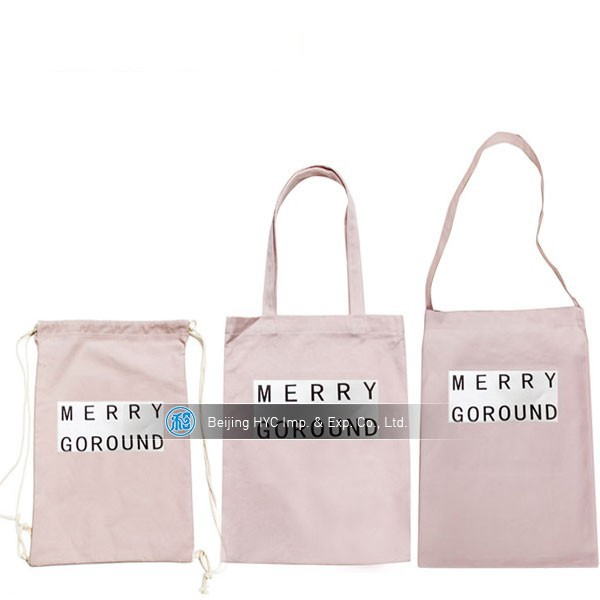 Pink printed logo 100% cotton canvas tote bags