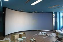 large format curved projection screen for simulator system
