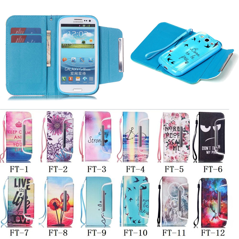 For Samsung Galaxy S3 case, Colorful Detachable Leather Case for Samsung S3 with Hand strap