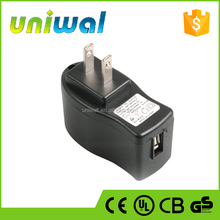 ul certified usb wall charger, 5w 5v 1a ac dc usb power adapter with US plug