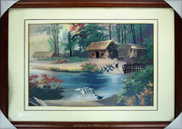 Rural landscape oil painting home decoration of wall, using in handmade embroidery for decorations