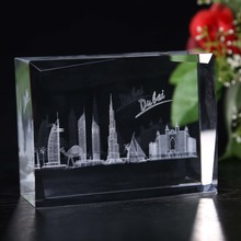 3D Laser Mosque Block Crystal Paperweights For Muslim Souvenir Gifts