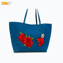 Fashion blue jeans tote shopping bag, with rose embroidory,Material in cotton jeans