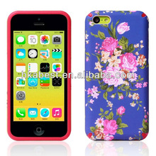 New Arrival IMD Crafting Hybird PC+Silicon Flower Case For iPhone 5C
