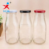 300ml glass bottle with colored metal lids for milk/juice storage
