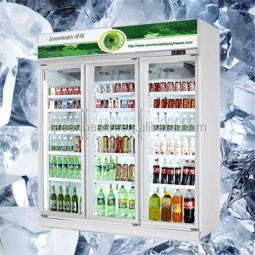 Professional 3 door upright showcase /Super Deluxe 1 Glass Swing Door Merchandiser Refrigerator for US standard