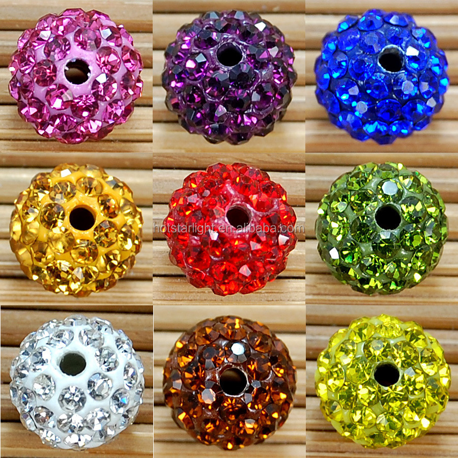 Fancy Big Hole 12mm Polymer Clay Base with ss8 Shining Rhinestone Shamballa Beads For Bracelet Boutique Store