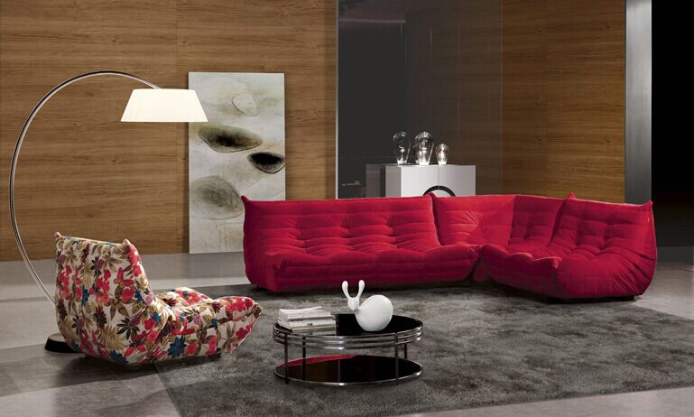 Living room furniture red fancy lounge cheap modern l shaped moroccan fabric sofa S090