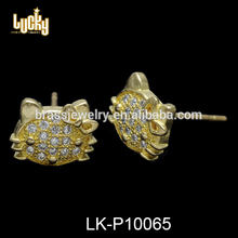 Dubai gold plated jewelry filigree hello kitty shaped AAA zircon pave rubber earring backs for jewelry earring making