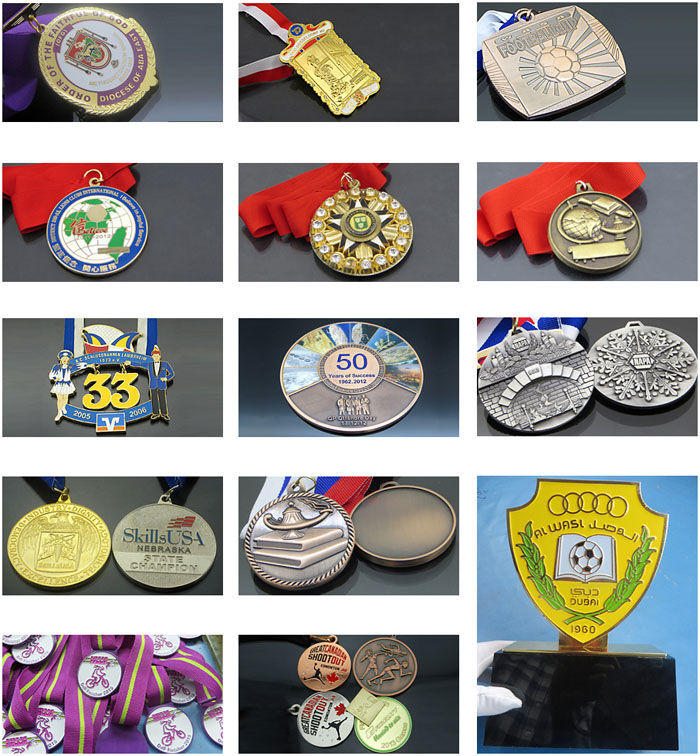 China Manufacturer 1 2 3 gold silver bronze medals with enamel color logo