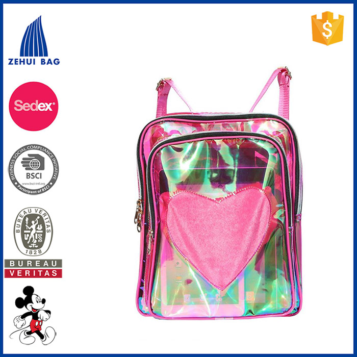 Transparent PVC Hologram Holographic Backpack Clear Satchel Travel Hiking Bag Heavy Duty Clear PVC School Bookbag backpack