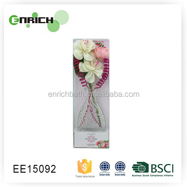 Pvc box reed diffuser stick with sola wood rose flower