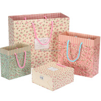 factory paper bag fresh mini flower print with nylon handle, custom christmas paper gift bag
