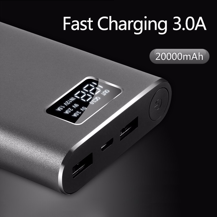 A20000 2017 New products 18650 battery 20000mah aluminum power bank with lcd display