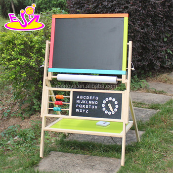 new design double-sided children wooden adjustable drawing board W12B103