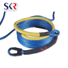 Synthetic Winch Rope - 3/8 x 48' Winch Cable Blue Rope 12000 LBs With Sheath For Truck Boat Rams