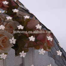 air mesh handwork embroidery designs with black net embroidered tulle fabric