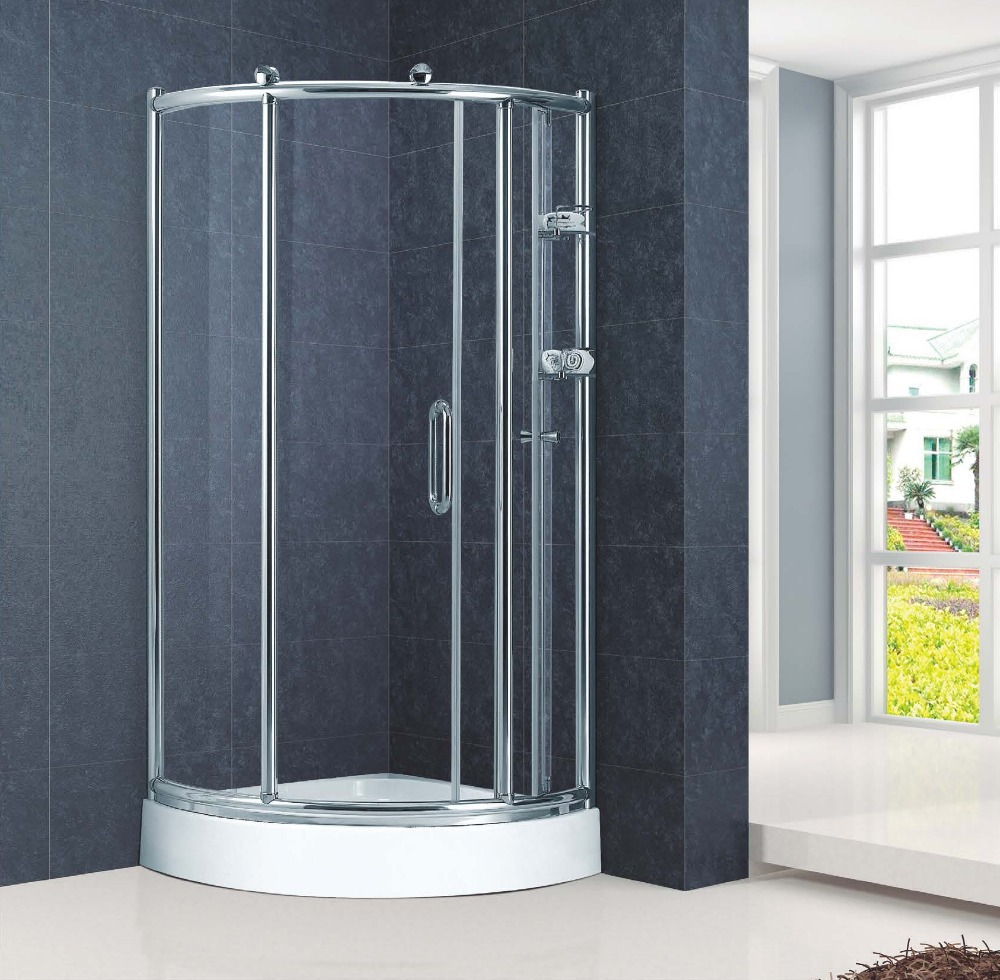 Arc-shape Copper Rollers Sliding Shower Enclosure Stall (KT6121)