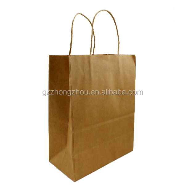 Top quality brown color craft paper handle bag made in china