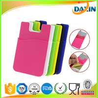 3M sticker mobile silicone smart wallet, back adhesive silicone cell phone credit card holder