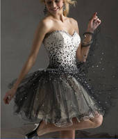 SJ1415 black sweetheart knee length organza sexy 2015 crystal cocktail dress