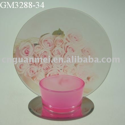 glass candle holder with mirror and image