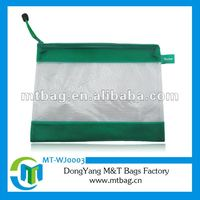 Plastic pencil bag for binder with eco-friendly color