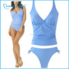 Popular White V neck Plunge High Cut Double Fabrics Seamless Two Piece Tankini Bikini Swimsuit