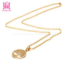 18kgp gold stainless steel chain meaningful pendant necklace NSSN329