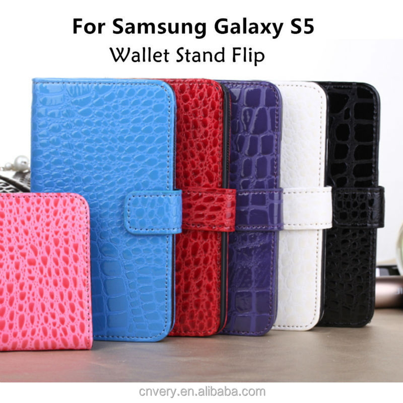 For samsung galaxy s5 case Luxury PU Crocodile pattern Wallet Stand Flip Fashion Cell phone case i9600 Protective sleeve