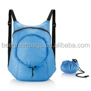 Polyester Foldable Backpack Drawstring with shoulder straps