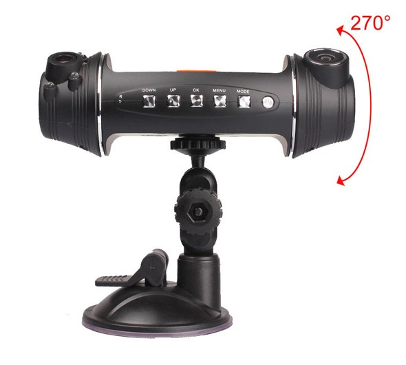 free ship 2.7 inch screen 1280x480 30fps GPS G Sensor Dual lens driving recording two camera black box car dvr