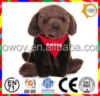 logo scarf brown plush dog stuffed dog with bandana custom stuffed animals