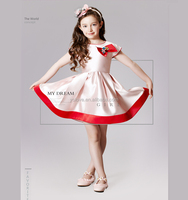 2016 dress fashion princess western dance latest dress designs pictures with bowknot beautiful party dress children frock model