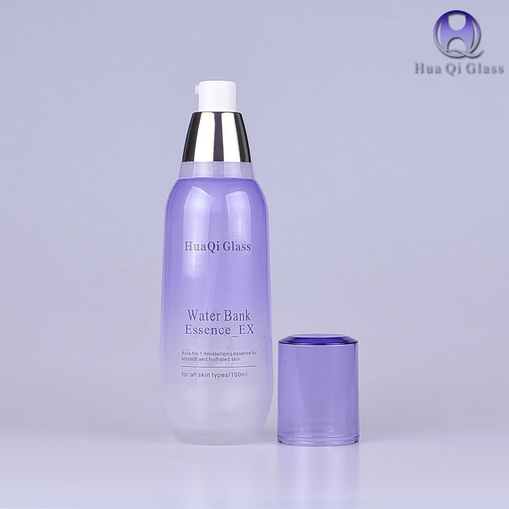 Luxury Packaging gradient purple color empty cosmetic sets spray glass bottle with pump