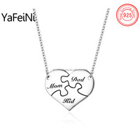 Hot sale family heart puzzle engraved name pendant necklace, pure silver family MoM Dad Kid pendants necklace